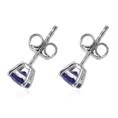 Tanzanite (Rnd) Stud Earrings (with Push Back) in Platinum Overlay Sterling Silver 0.900 Ct.