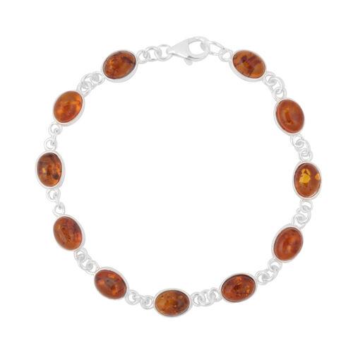 Baltic Amber (Ovl) Bracelet (Size 7.5) in Sterling Silver