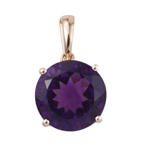 9K Y Gold AAA Zambian Amethyst (Rnd) Solitaire Pendant 6.000 Ct.