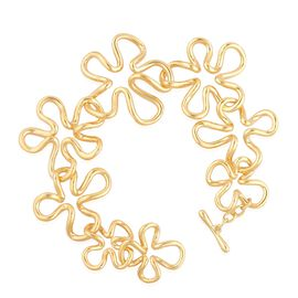 LucyQ Floral Bracelet (Size 7) in Yellow Gold Overlay Sterling Silver 29.00 Gms.