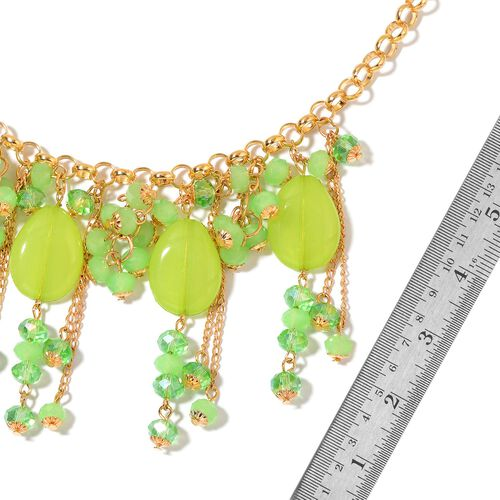 Simulated Peridot Necklace (Size 20 with 3 inch Extender) in Yellow Gold Tone