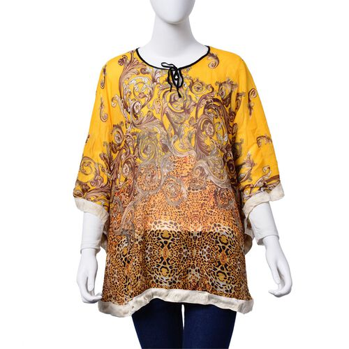 Chocolate and Orange Colour Leopard and Paisley Pattern Yellow Colour Poncho (Free Size)
