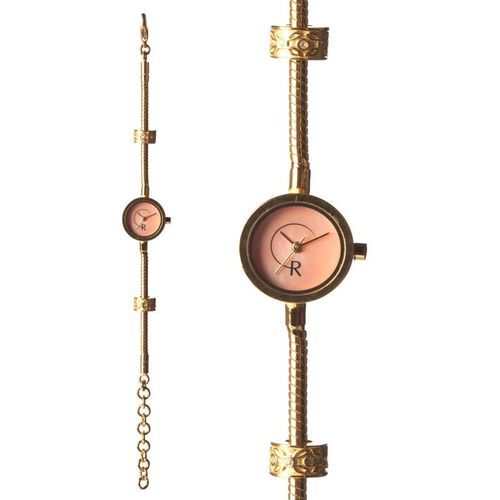 RACHEL GALLEY Pink Mother of Pearl Japanese Movement 1 Micron Gold Plating Snake Bracelet Timepiece in Swarovski Crystal