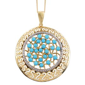 Arizona Sleeping Beauty Turquoise (Rnd) Pendant with Chain in 14K Gold Overlay Sterling Silver 3.500 Ct.