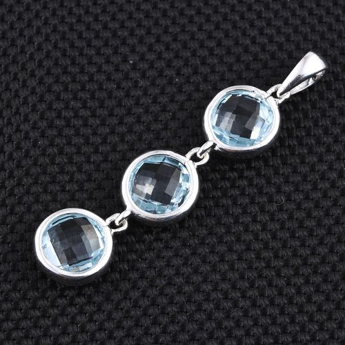 Sky Blue Topaz (Rnd) Trilogy Pendant in Sterling Silver 6.500 Ct.