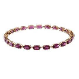 9K Y Gold African Ruby (Ovl), Natural Cambodian White Zircon Bracelet (Size 7.5) 16.000 Ct.