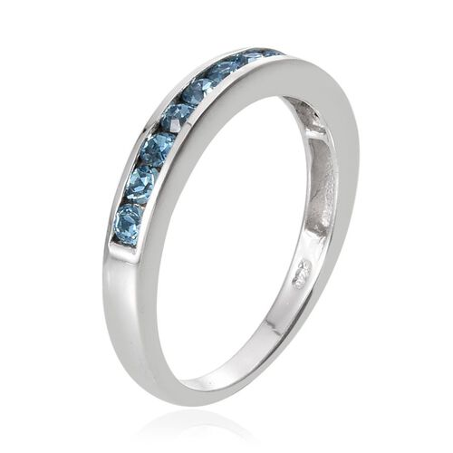 Crystal from Swarovski - Aquamarine Colour Crystal (Rnd) Half Eternity Band Ring in Platinum Overlay Sterling Silver