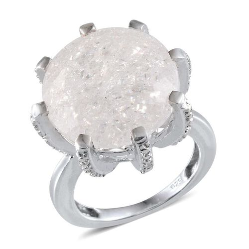 White Crackled Quartz (Rnd 11.00 Ct), White Topaz Ring in Platinum Overlay Sterling Silver 11.100 Ct.