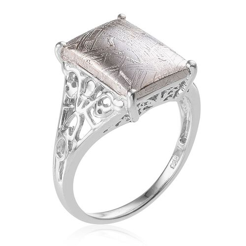 Meteorite (Bgt) Solitaire Ring in Platinum Overlay Sterling Silver 11.500 Ct.