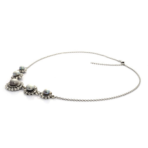 Fresh Water Silver Dyed Grey Pearl, White Austrian Crystal  Necklace (Size 20 with Extender) in Silver Tone