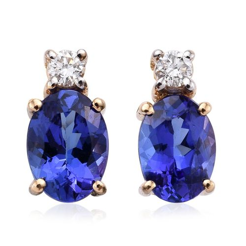 ILIANA 18K Yellow Gold AAA Tanzanite Ovall, Diamond (SI G-H) Earrings 1.75 Carat with Screw Back.