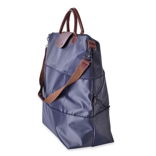 Designer Inspired- Navy Colour Foldable Travel Bag with Shoulder Strap (Size 58x52x42x21 Cm)