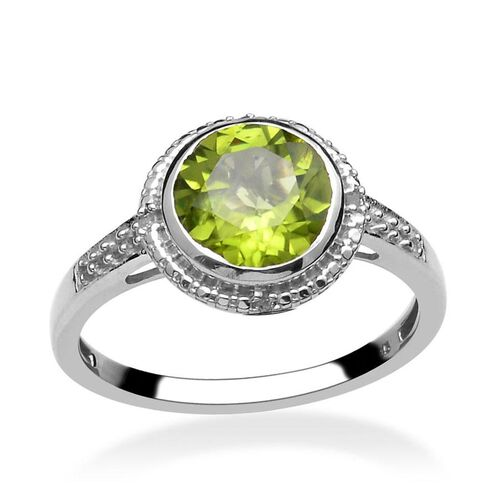 Hebei Peridot (Rnd 2.50 Ct), Diamond Ring in Platinum Overlay Sterling Silver 2.560 Ct.