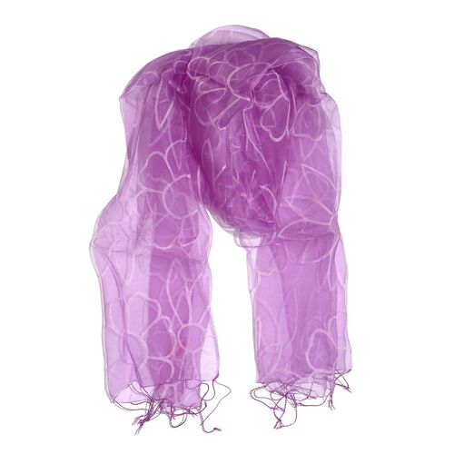 100% Mulberry Silk Purple Colour Floral Pattern Scarf (Size 180x50 Cm)