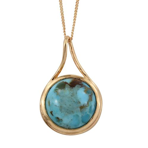 Arizona Matrix Turquoise (Rnd) Solitaire Pendant With Chain in 14K Gold Overlay Sterling Silver 4.250 Ct.