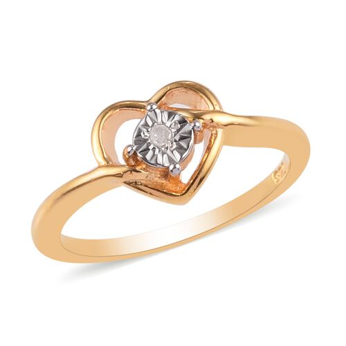 Diamond Promise Heart Silver Ring in 14K Gold Overlay