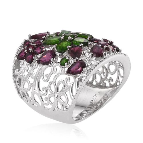 Royal Jaipur Russian Diopside (Pear), Rhodolite Garnet and Burmese Ruby Ring in Platinum Overlay Sterling Silver 8.250 Ct.