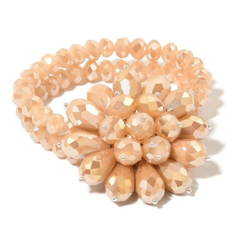 Simulated Peach Morganite Floral Stretchable Bracelet (Size 6.5)