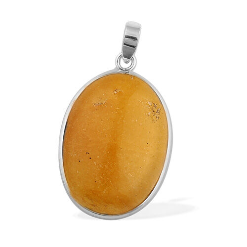 ARTISAN CRAFTED Enhanced Yellow Jade (22.53 Ct) Sterling Silver Pendant