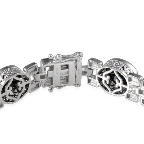 Boi Ploi Black Spinel (Ovl) Bracelet in Platinum Overlay Sterling Silver (Size 7.5) 25.000 Ct.