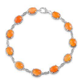 Orange Ethiopian Opal (Ovl) Bracelet in Platinum Overlay Sterling Silver (Size 7.5) 9.000 Ct.