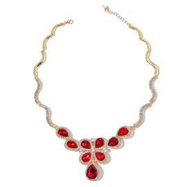 Simulated Ruby and White Austrian Crystal Necklace (Size 18 with 1 inch Extender) in Yellow Gold Tone
