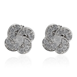 9K White Gold SGL Certified Diamond (Rnd) (I3/G-H) Lily Flower Stud Earrings 0.330 Ct.