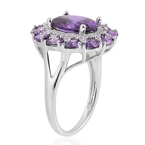 AAA Simulated Amethyst and Simulated White Diamond Ring in Rhodium Plated Sterling Silver