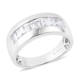 ILIANA 18K White Gold 1 Carat IGI Certified Diamond SI/G-H Baguette Men Band Ring