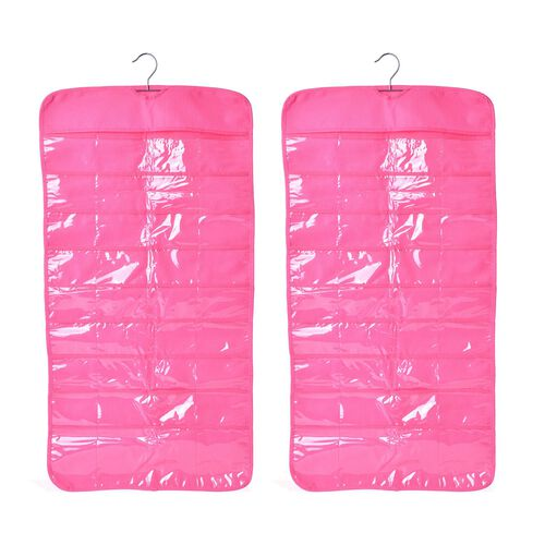 Set of 2 - Pink Colour Double Sided Hanging Jewellery Organizer (Size 85X23 Cm)