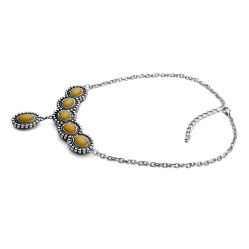 Designer Inspired Blue Goldstone, Yellow Quartzite Reversible Necklace (Size 18) and Matching Hook Earrings