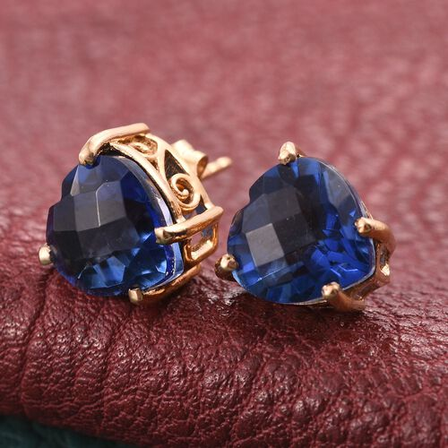 Checkerboard Cut Ceylon Colour Quartz (Hrt) Stud Earrings (with Push Back) in 14K Gold Overlay Sterling Silver 7.000 Ct.