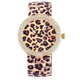 STRADA Japanese Movement Leopard Pattern Dial with White Austrian Crystal Water Resistant Watch in Gold Tone with Stainless Steel Back and Stretchable Strap