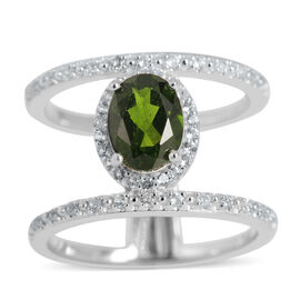 Russian Diopside (Ovl 1.50 Ct), White Topaz Ring in Rhodium Plated Sterling Silver 1.760 Ct.
