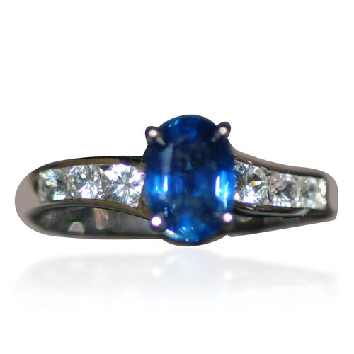 14K W Gold Kanchanaburi Blue Sapphire (Ovl 1.00 Ct), White Sapphire Ring 1.500 Ct.