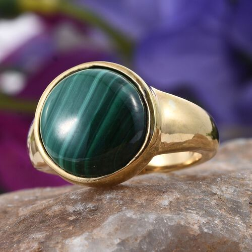 Malachite (Rnd) Ring in 14K Gold Overlay Sterling Silver 11.000 Ct.