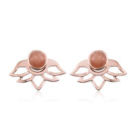 Morogoro Peach Sunstone (Rnd) Earrings (with Push Back) in Rose Gold Overlay Sterling Silver 4.250 Ct.