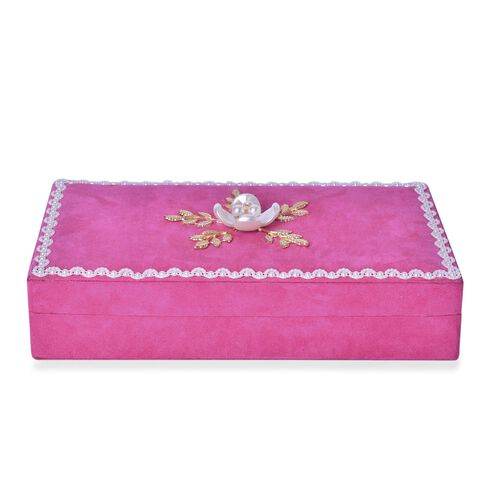 Handcrafted Lacy Border and Flower Embellished Rose Red Colour Velvet Jewelry Box with Mirror Inside (Size 25.5X15X6 Cm)