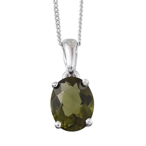 Bohemian Moldavite (Ovl) Solitaire Pendant With Chain in Platinum Overlay Sterling Silver 1.500 Ct.