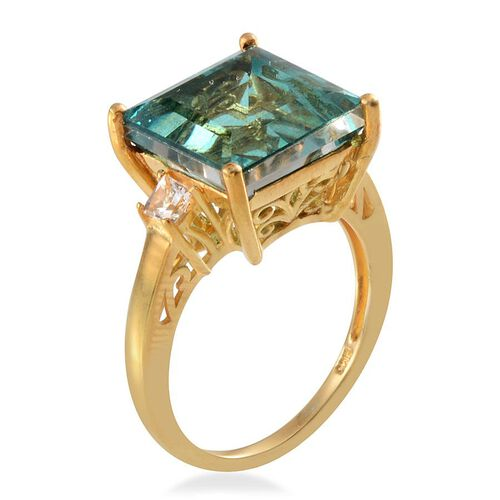 Paraiba Quartz (Sqr 8.00 Ct), White Topaz Ring in 14K Gold Overlay Sterling Silver 8.250 Ct.