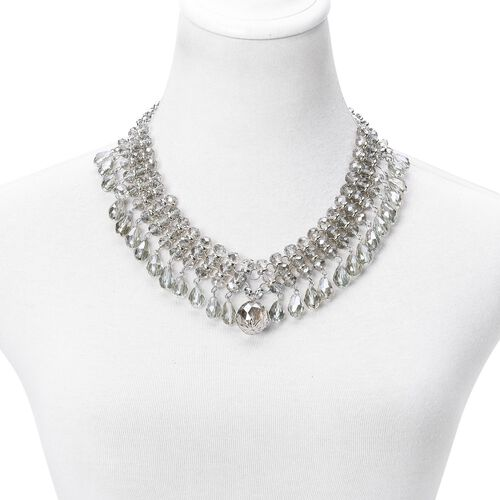 Simulated Grey Diamond Necklace (Size 18 with 2.5 inch Extender) and Hook Earrings in Silver Tone