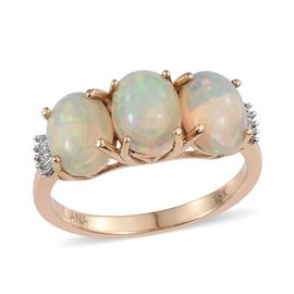 ILIANA 18K Y Gold Ethiopian Welo Opal (Ovl), Diamond Ring 2.500 Ct.