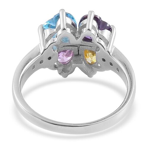 ELANZA AAA Simulated Aquamarine, Simulated Pink Sapphire, Simulated Amethyst, Simulated Citrine and Simulated White Diamond Ring in Rhodium Plated Sterling Silver