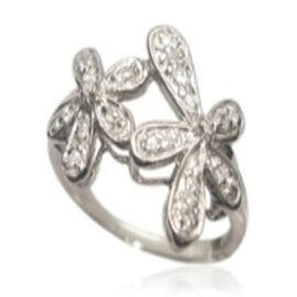 ELANZA AAA Simulated White Diamond (Rnd) Twin Floral Ring in Rhodium Plated Sterling Silver