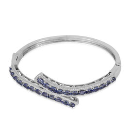Tanzanite (Ovl) Bangle (Size 6.5) in ION Plated Platinum Bond 3.600 Ct.