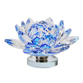 Hand Crafted AAA Blue and White Austrian Crystal and Faceted Glass Lotus with A Gift Box