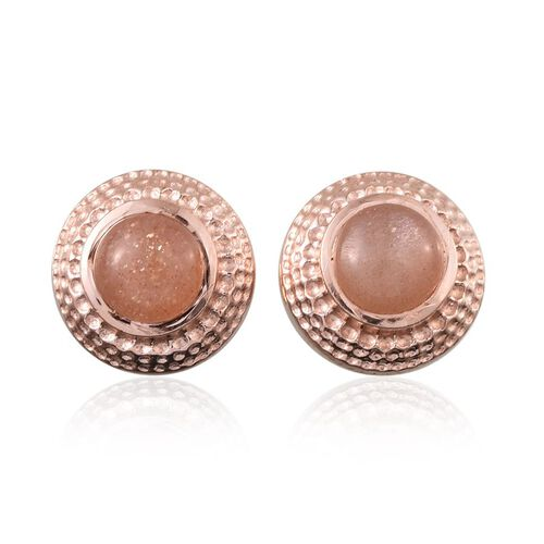 Morogoro Peach Sunstone (Rnd) Stud Earrings in Rose Gold Overlay Sterling Silver 1.750 Ct.