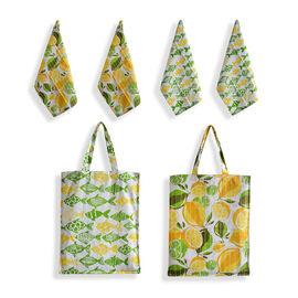 100% Cotton Green, Orange, Yellow and Multi Colour 1 Fruit Design Bag (Size 40x35 Cm), 1 Fish Design Bag (Size 40x35 Cm) and 2 Fruit and 2 Fish Design Kitchen Towels (Size 60x40 Cm)