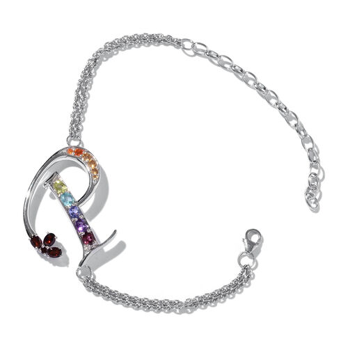 Paraiba Apatite (Ovl), Mozambique Garnet, Tanzanite, Amethyst, Hebei Peridot and Multi Gemstone Initial P Bracelet (Size 9 with Extender) in Platinum Overlay Sterling Silver 5.300 Ct.