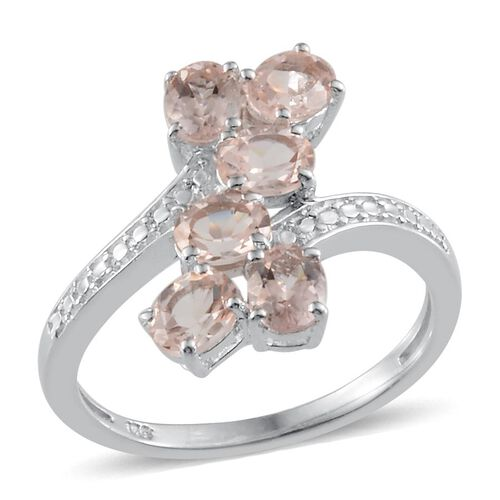 Marropino Morganite (Ovl) Crossover Ring in Platinum Overlay Sterling Silver 1.750 Ct.